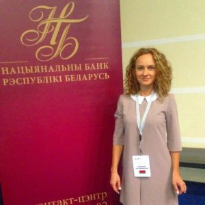 Alesya Teplyakova, a translator from Belarus at some official event